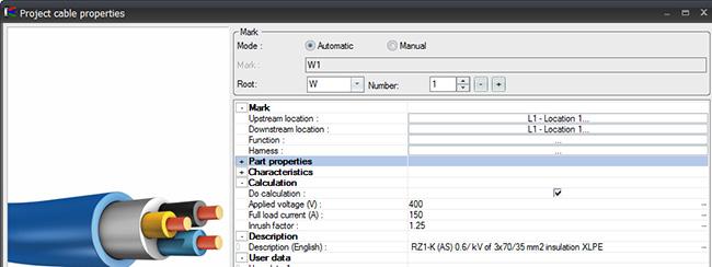 Datos específicos en mangueras en elecworks 2014