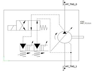 Elemento hidráulico y neumático en elecworks Fluid