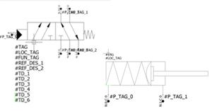 Elementos con puntos de conexión asignados en elecworks Fluid