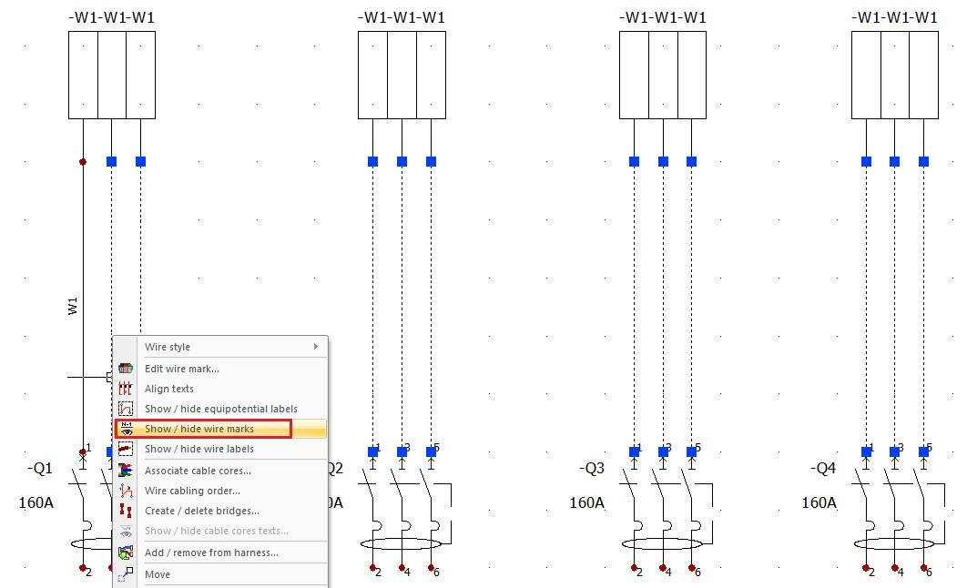 elecworks ocultar mostrar numeracion cables