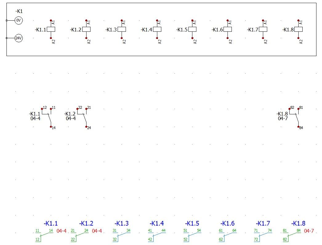Resultado en el esquema de la tarjeta de relés en elecworks
