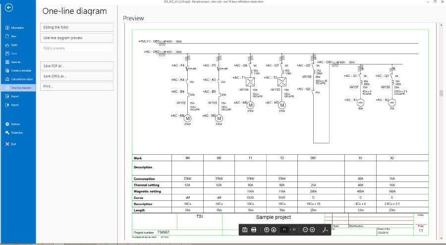 Exportar el diagrama unifilar en documento