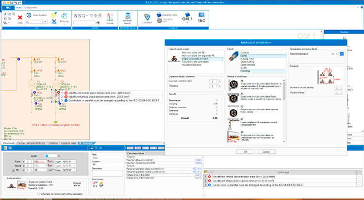 Software de cálculo eléctrico multi-estándar