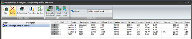 Drop voltage calculation in elecworks 2014