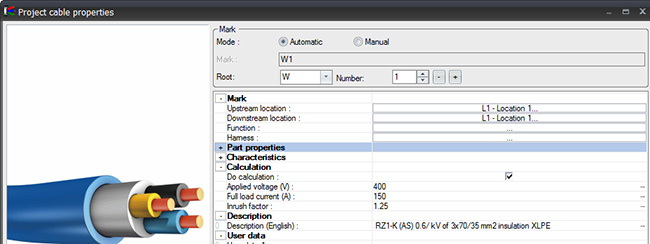 Specific data in cables in elecworks2014