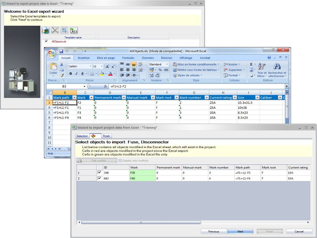 Modifying data into an Excel file with the Excel Export in elecworks
