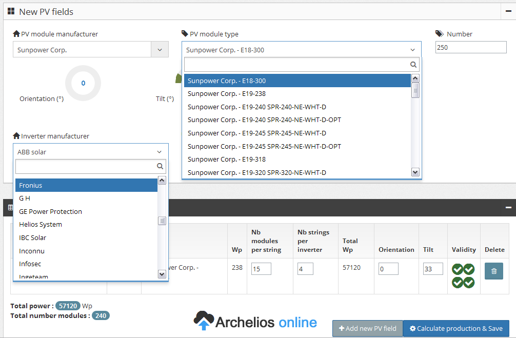 archelios pro equipment database