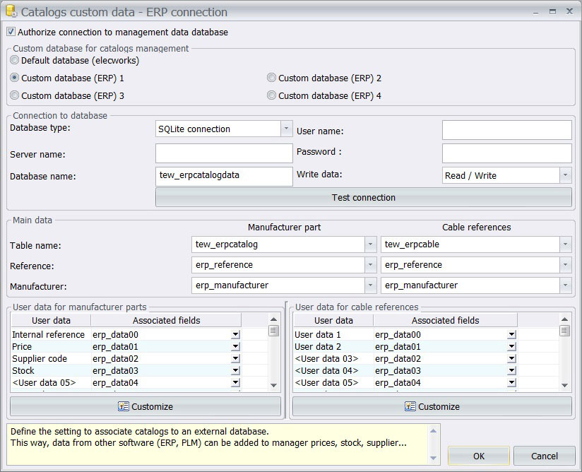 ERP connection data base in elecworks