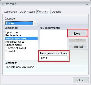 New shortcut key in elecworks