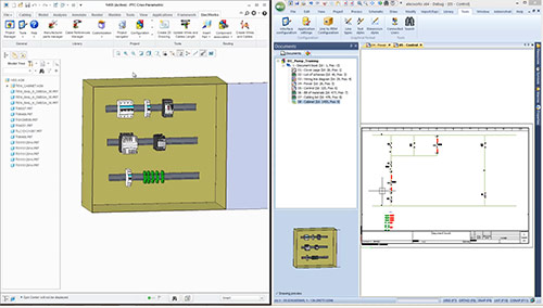 electrical schematics 2D integrated within PTC Creo for a 3D design