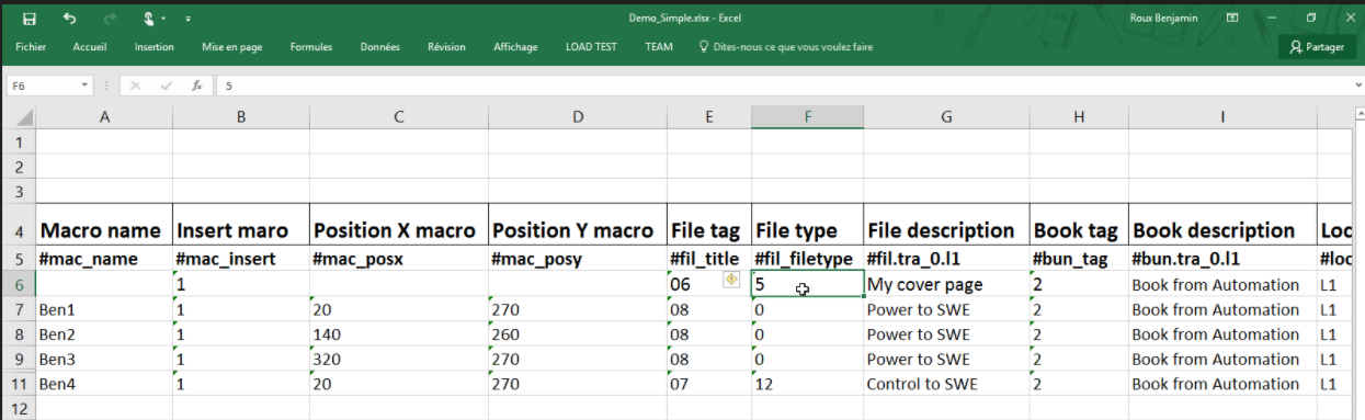 Excel automation in elecworks