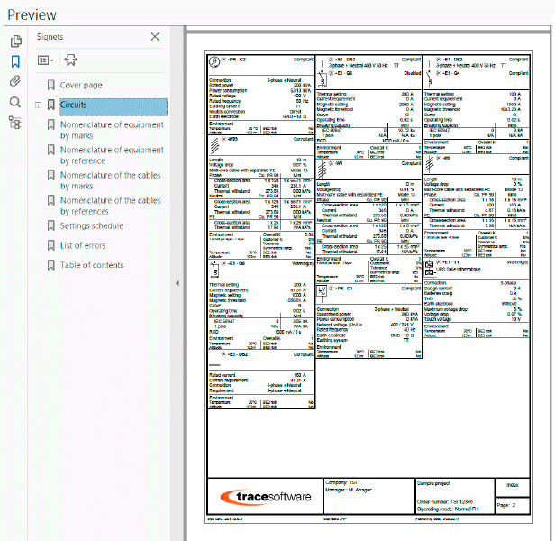 A complete electrical calculation report in elec calc
