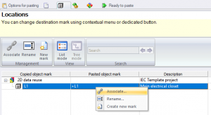 Location association in cabinets elecworks