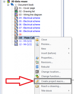 Project macro creation command in elecworks